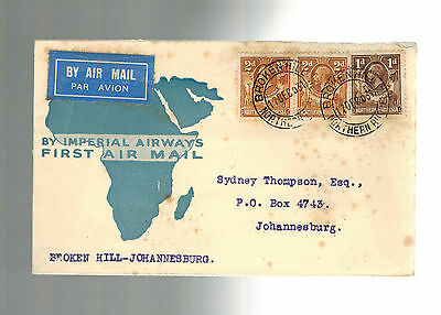1936 Broken Hill Rhodesia First Flight Cover FFC South Africa Imperial Airways