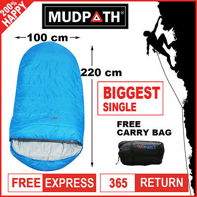OzEagle Camping King Sleeping Bag XXL Outdoor Winter -15°C 220x100cm Sky Blue