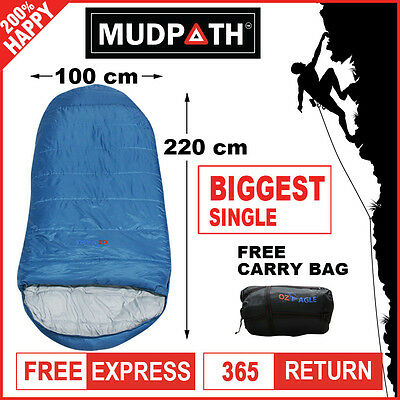 OzEagle Camping King Sleeping Bag XXL Outdoor Winter -15°C 220x100cm Ocean Blue
