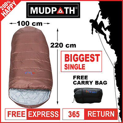 OzEagle Camping King Sleeping Bag XXL Outdoor Winter -15°C 220x100cm Copper