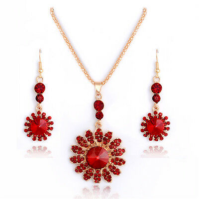 Trendy 18k Gold Filled red Rhinestone jewelry sets necklace/earrings
