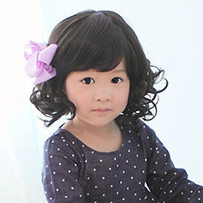 New Fashion Princess Baby Child Short Black Curly Hair Wigs Girl Daliy Wig