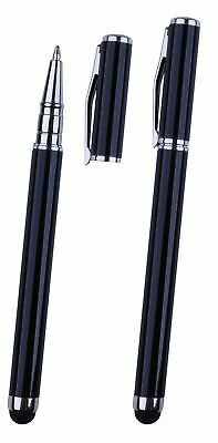 2x Pro Black Short Stylus with BallPoint Pen ULTRA-SMOOTH Rubber Tip Tablets