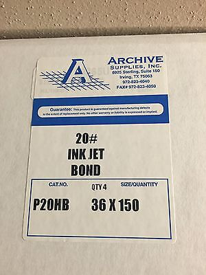 "20 lb Inkjet Bond Paper 2"" core- 36"" x 150' 1 box (4 rolls)"