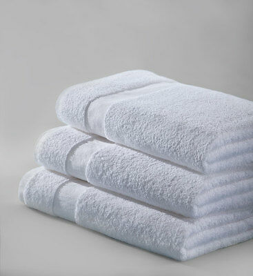 6 new white cotton hotel bath towels 22x44 new salon plus brand