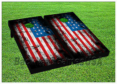 CORNHOLE BEANBAG TOSS GAME w Bags Game Boards American Flag USA Stars Set 977