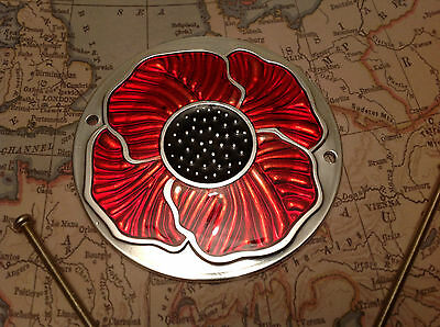 Red Enamelled Poppy Grille Car Badge with Grille Fixings British Legion 1 ALUM