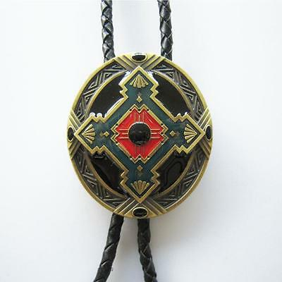 Native American Turquoise Red Western Bolo Tie Antique Bronze Indian Art