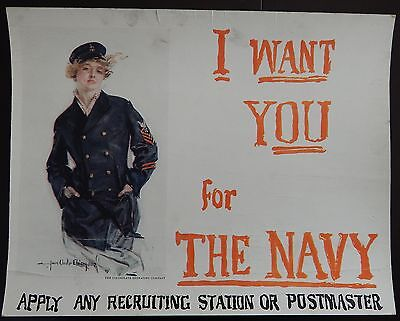 Original WWI US Navy Recruiting Poster Trolley Card Christy I want you for the