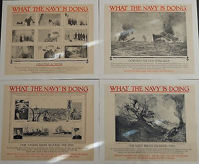 Original WWI US Recruiting Poster What the Navy is Doing Set of 4 Linen