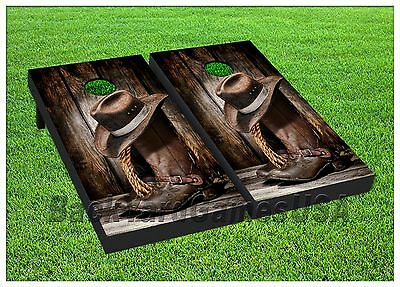 COUNTRY WESTERN Cornhole Boards BEANBAG TOSS GAME w Bags Cowboy Ranch Rodeo S197