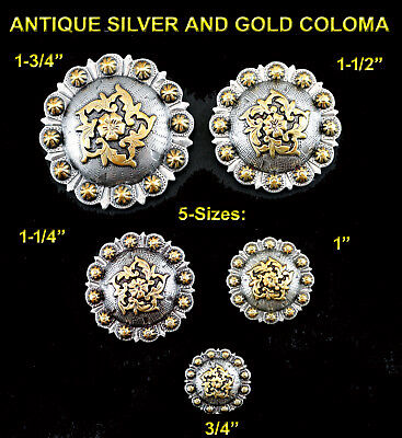 Conchos Lot Of 6 Pcs  Bs 9188 Antique Silver & Gold Berry Coloma 5 Sizes: