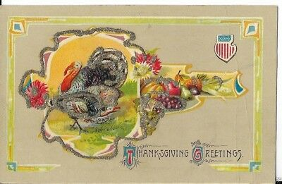 thanksgiving turkey postcard with american shield dated 1913