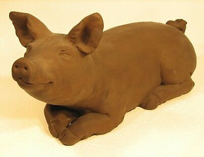 Cast Stone Cement Brother Pig Outdoor Garden Statue