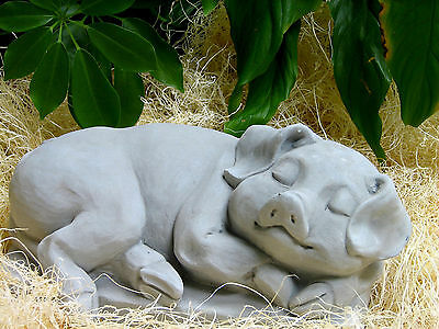 Cast Stone Cement Sleeping Pig Outdoor Garden Statue