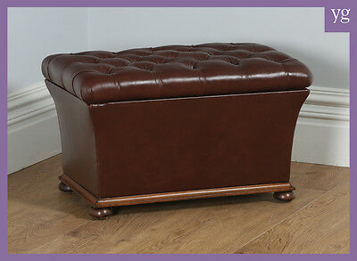 Antique Victorian Brown Leather Ottoman Box Window Stool Poof Chest Trunk c.1870