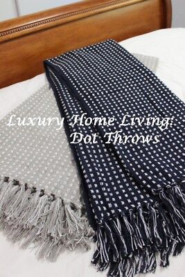 Cotton Throw Cover: White Waffle Dot Weave, Navy or Grey Sofa Bed Blanket Spread