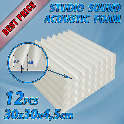 12 x Acoustic Foam Wedge V-Profile Tiles Studio Sound Bass Room Treatment White