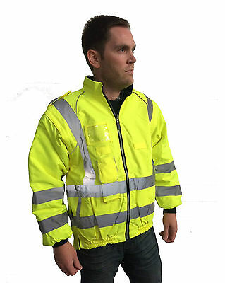 Adults High Viz Bomber Jacket Hi Vis Waterproof Work Safety Mens Ladies 3-in-1
