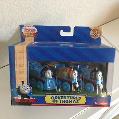ADVENTURES OF THOMAS-3 different Thomas Characters-NIP-Wooden Railway- free ship