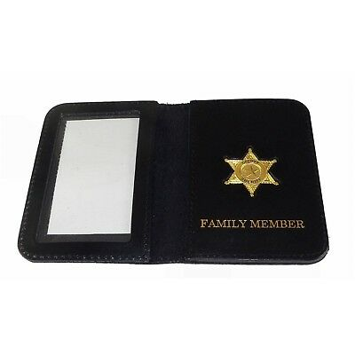 Deputy Sheriff Family Member Leather Wallet Police mini Badge License or ID Card