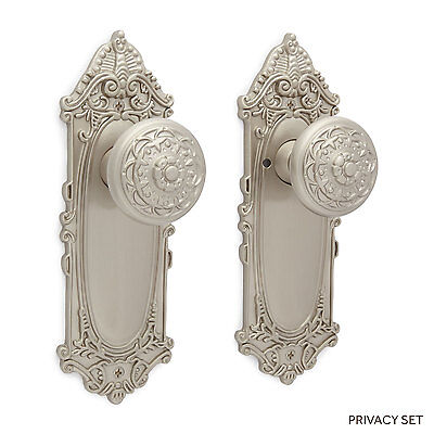 Achille Victorian Door Plate and Floral Round Knob Set Dummy Privacy and Passage