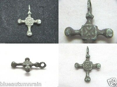 † SCARCE MEDIEVAL VIKING PERIOD ANCIENT BRONZE CRUCIFIX CROSS FROM c1000s & UP †