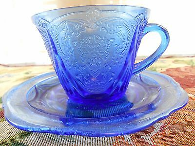 Hazel Atlas Royal Lace Cobalt Blue Cup & Saucer Depression Glass