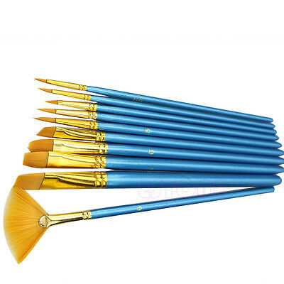 10Pc Acrylic Nylon Hair Watercolor Flabellum Pointed Tip Artists Paint Brush Set
