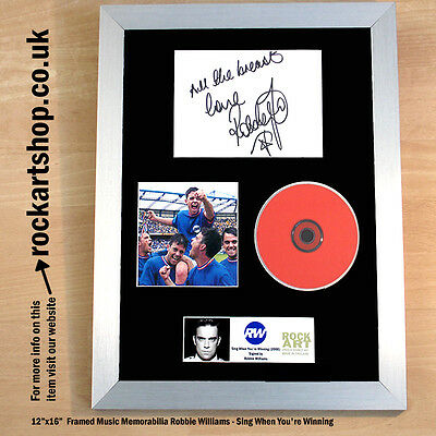 ROBBIE WILLIAMS Sing When You're Winning SIGNED Autographed (PRINTED) CD Framed