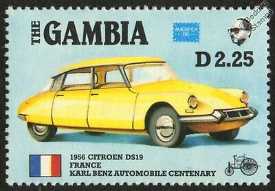 1956 CITROEN DS19 / DS-19 France Car Stamp (1986 The Gambia)