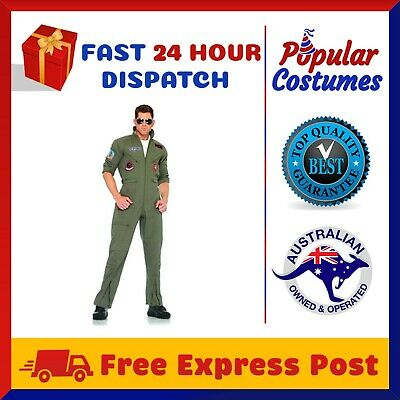 Top Gun Mens Aviator Costume Pilot Flight 80's Film Suit Pete Mitchell Maverick