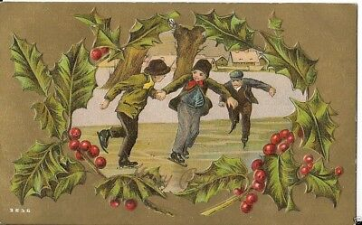 EARLY CHRISTMAS CARD young children with christmas tree and bugle ...