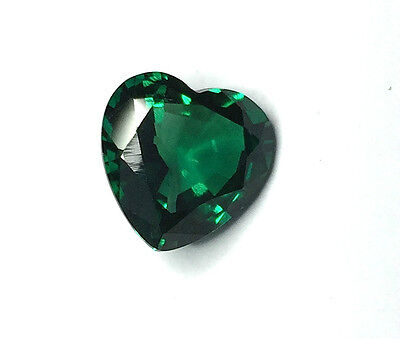 AAA Rated Heart Bright Green Hydrothermal Lab Created Emerald (3mm to 9mm)