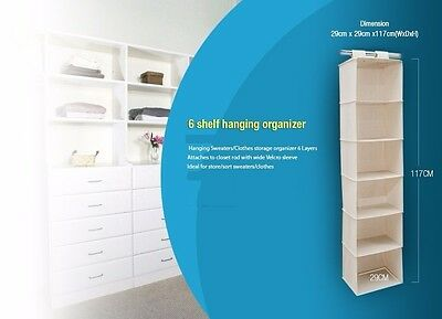 2017 New 6 Shelf Closet Organizer-  Heavy Duty
