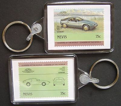 1980 PORSCHE 928S Car Stamp Keyring (Auto 100 Automobile)