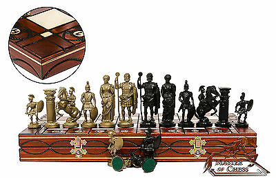 "GREAT ''SPARTAN'' CHESS SET 42cm/16"" WOODEN CHESSBOARD & WEIGHTED PLASTIC PIECES"
