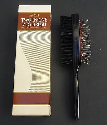 """AVON Vintage Wig Brush Two in One Pins & Nylon 8 1/2"""" Hair Brush in Box NEW?"""
