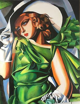 "NEW DAVID ALDUS ORIGINAL  ""Young Lady After Tamara de Lempicka Art Deco PAINTING"