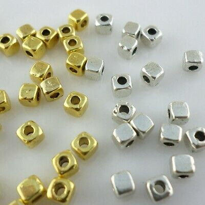 240/2000pcs Tibetan Goid/Silver Small Square Cube Spacer Beads for Jewelry 3mm