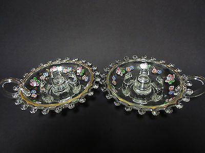 2 Matching Lariat Factory Decorated Hurricane Candle Lamp Bases / Heisey