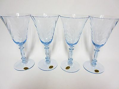4 Blue Caprice Blown Water Goblet Stems / Original Lables / Cambridge Glass Co