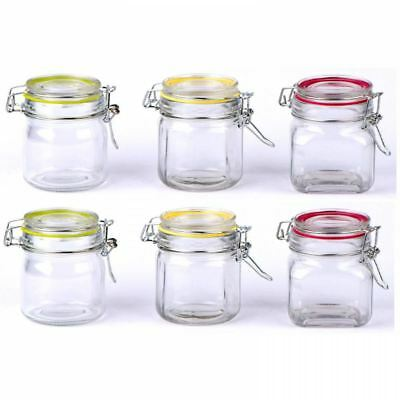 6 X Glass Clip Top Spice Storage Preserving Jars Herb Canisters Colour Ring Lids