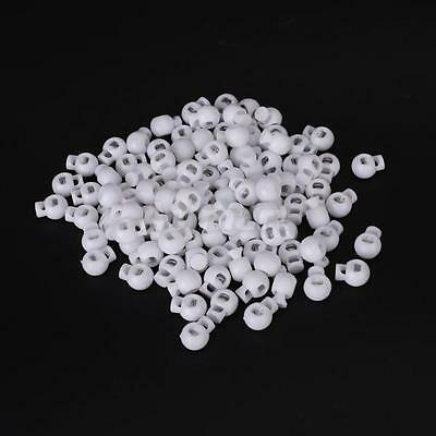 100± White Round Ball Cordlock Cord Lock End Stop Toggles Stopper for Bag Crafts