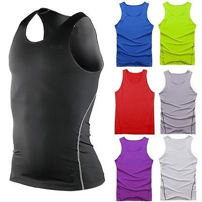 Mens Sports Compression Base Layers Tops Tight Tank T-Shirts Vests
