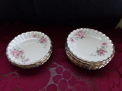 Limoges USA China 22k Gold WILD ROSE- BREAD BUTTER PLATES & SAUCERS