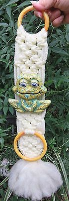 Vintage Macrame Towel Holder / Wall Hanging - Frog Clay Bead