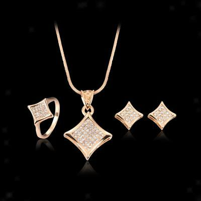 Fashion Rose Gold Plated Crystal Necklace Bridal Wedding Party Jewelry Set