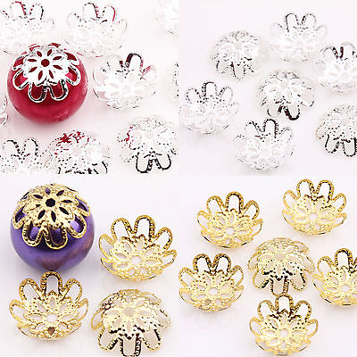 Wholesale 200PCS Gold /Silver Plated Flower Bead Caps Jewelry Findings 10mm DIY