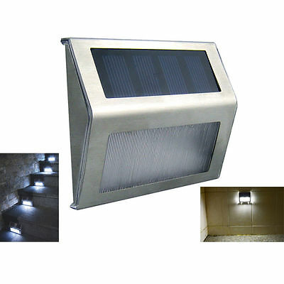 Outdoor Solar Power LED Light Garden Fence Wall Pathway Stair Yard Lamp